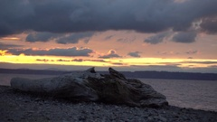 Timelapse Seattle Golden Gardens Beach Brightly Colored Sunset Birds Stock Footage