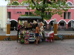 Mexico Valladolid city center street vendor selling DCI 4K Stock Footage