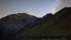 MoCo Astro Timelapse of Stars over Alpine Lake in Eastern Sierra -Long Crop- Stock Footage