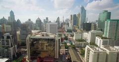 Drone Slider Shot of Sukhumvit Skyscrapers, Bangkok Thailand Stock Footage