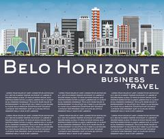 Belo Horizonte Skyline with Gray Buildings, Blue Sky and Copy Space. Stock Illustration