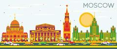 Moscow Skyline with Color Buildings and Blue Sky. Stock Illustration