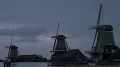 View of windmills and houses in the Zaanse Schans museum, Netherlands Stock Footage