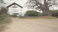 CLOSE UP: Safari jeeps with of travelers entering Tarangire National Park Stock Footage