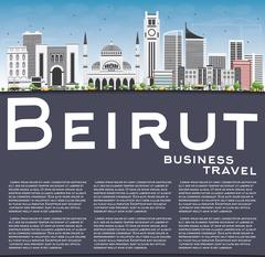 Beirut Skyline with Gray Buildings, Blue Sky and Copy Space. Stock Illustration