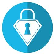 Lock shield protection security technology shadow blue circle Stock Illustration