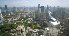 Modern Shopping Mall in Sukhumvit, Bangkok, Aerial Slider Shot Stock Footage