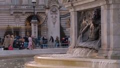 Beautiful Victoria Memorial at Buckingham Palace London Stock Footage
