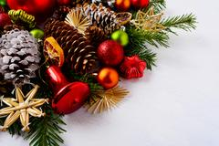 Christmas decoration with dried orange slices, red jingle bell and star Stock Photos