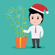 Business People Money Gift box, Christmas Holiday Stock Illustration