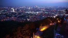 Beautiful night view of Seoul, Korea's capital city from Namsan mountain Stock Footage