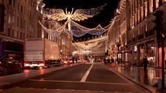 Wonderful Christmas decoration in London - beautiful Regent Street Stock Footage