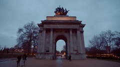 Evening view of Wellington Arch at London Hyde Park Corner Stock Footage