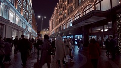 Harrods Department store in London - amazing night shot Stock Footage