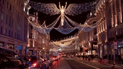 Wonderful Christmas decoration in London - beautiful Regent Street Stock Footage
