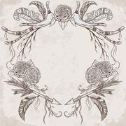 Wreath with antler, feather, arrow, flower, leaf and branch in boho style Stock Illustration