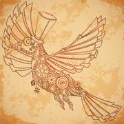 Mechanical bird in steampunk style on aged paper background. Piirros