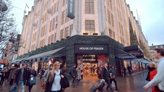 Famous House of Fraser store in London - decorated for Christmas Stock Footage