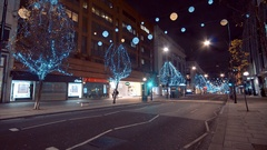 Wonderful street decoration of London Oxford Street at Christmas Time Stock Footage