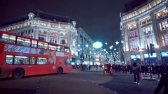 Wide angle view over Oxford Circus in London Stock Footage