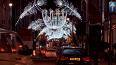 Wonderful street decoration for Christmas at New Bond Street in London Stock Footage