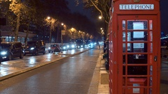 London Telephone Booth at Westminster Pier Stock Footage