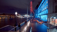 London Eye and County Hall - great night view Stock Footage