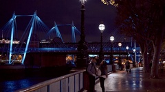 London Southbank a perfect romantic place at night Stock Footage
