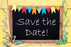 Chalkboard With Streamer, Text Save The Date Stock Photos