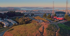 Aerial Shot of san francisco skyline at sunset from Twin Peaks Stock Footage