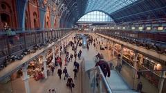 St Pancras International Train station in London Stock Footage