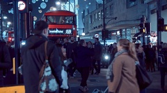 Christmas shopping at London Oxford street - great night view Stock Footage