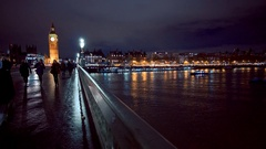 The banks of River Thames in London with Westminster Bridge and Big Ben Stock Footage