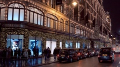 Awesome Harrods Store in London by night Stock Footage