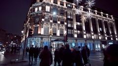 Harvey Nichols at London Knightsbridge - amazing view at night Stock Footage