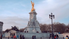 Victoria Memorial fountain at Buckingham Palace London Stock Footage