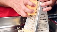 Grate yellow cheese Stock Footage