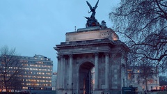 Wellington Arch at Hyde Park Corner London Stock Footage