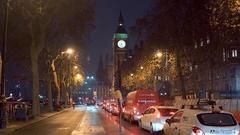 Victoria Embankment with Elizabeth Tower and Big Ben at night Stock Footage