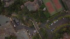 Aerial shot of town on the island and blue ocean, Mauritius Stock Footage