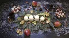 Taking gluhwein from the table with christmas decoration top view Stock Footage