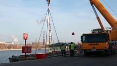 State Unitary Enterprise Mosvodostok, ship lift up by crane. Stock Footage