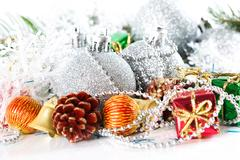 Christmas silver ball baubles with new year decoration, isolated Kuvituskuvat