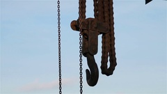 Hook and chains at construction site. Stock Footage