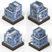 Blue residential building in a small isolated platform. Raster 3d illustration Stock Illustration