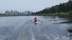 Professional rower training on rowing canal, Full HD footage Stock Footage