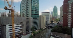 Bangkok City Ascending Drone Shot Over Canal and Skyscrapers Stock Footage