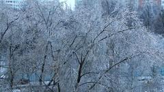 City after heavy ice rain Stock Footage