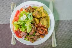 Meat with vegetables Stock Photos