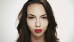 Beautiful woman model with fresh daily makeup  Stock Footage